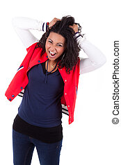 Young African American woman holding her head