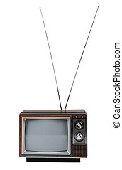 Vintage TV with antenna isolated over a white background.