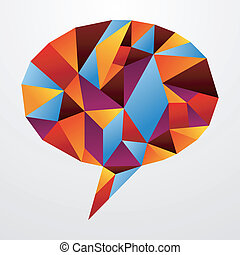 Diversity origami speech bubble isolated