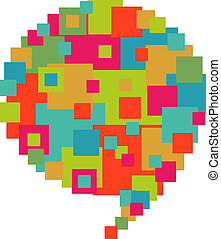 Pixelated diversity speech bubble - Pixel abstract art in...