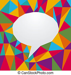 Multicolored origami speech bubble