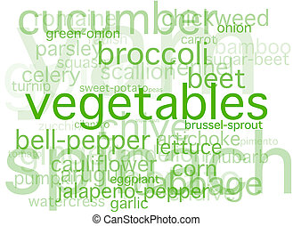 Vegetables - A simple collage of vegetable names.