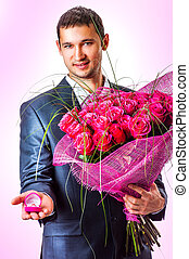 Valentines Man with flowers