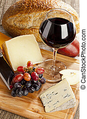 Red Wine And Cheese Plate - Red Wine And Assorted Cheese...