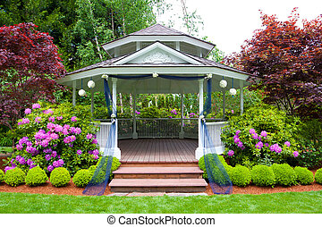 Wedding Gazebo - Wedding gazebo and stairs at an outdoor...