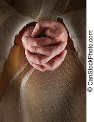 Hands of Jesus - The hands of Jesus in clasped in prayer