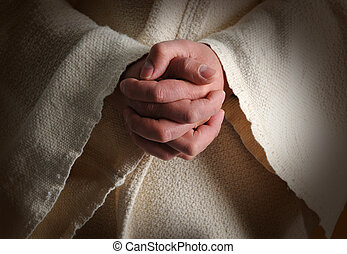 The Hands of Jesus - The hands of Jesus clasped in prayer