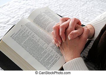 Woman's, Hands, And, Bible