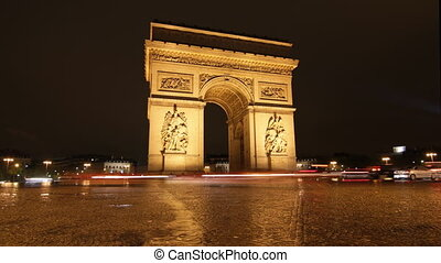 Arc de Triomphe. Night Timelapse. - Timelapse at night of...