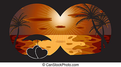 Palm in the sunset. Vector illustration. EPS 10