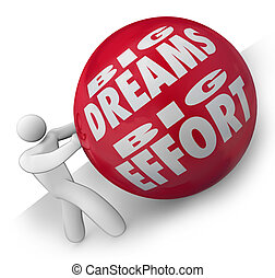 Big Dreams and Effort Person Rolling Ball Uphill to Goal -...
