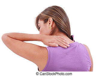 Back view of sport woman with pain in her neck Isolated