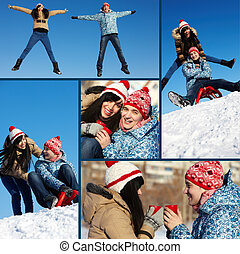 Winter dates - Collage of happy couple in warm clothes...
