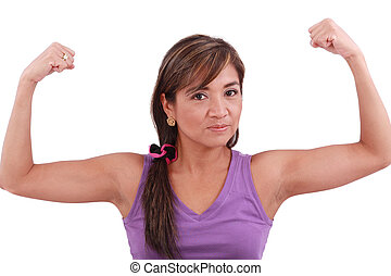 Portrait of fit young woman flexing her biceps. Isolated on...