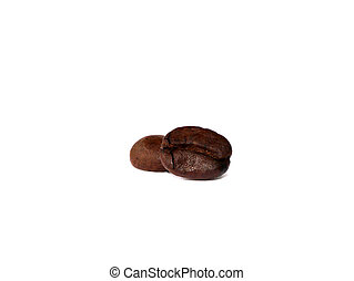 two coffee beans on white background
