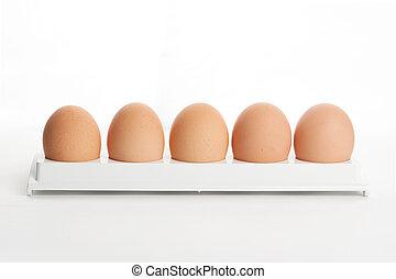 the hen's eggs in egg holder on white background