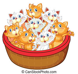 kittens - illustration of kittens on a white background