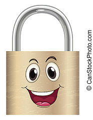 a lock with face - illustration of a lock with a face on a...