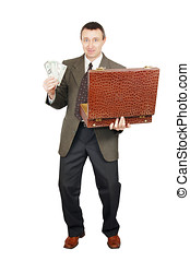 Successful man gets the money out of a suitcase