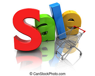 Sale and cart - Color word sale and cart shopping, 3d image