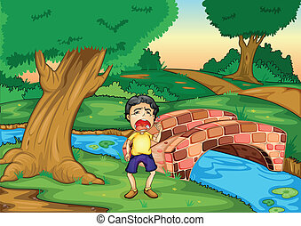 boy crying alone - illustration of a boy crying alone in...