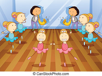 dancing kids - illustration of dancing kids on a room