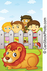 kids watching lion - illustration of four kids watching a...