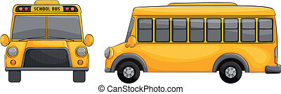 school bus - illustration of school bus on a white...