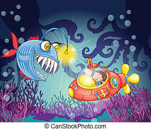 monster fish and submarine - illustration of a monster fish...