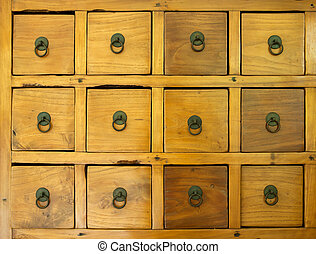 the old wooden drawer