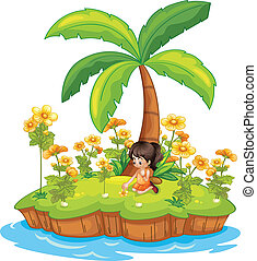 Girl on an island - Illustration of a girl on an island