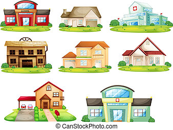 Houses and other building - Illustration of houses, and...