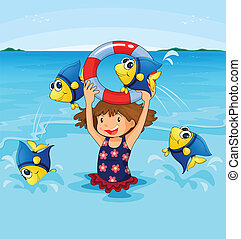 Fish jumping - Illustration of girl playing with fish