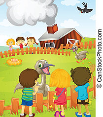 Kids at the farm - Illustration of kids at the farm