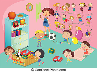 Bedroom scene - Illustration of childen in a bedroom