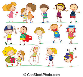 Simple kids - Illustration of simple kids on white
