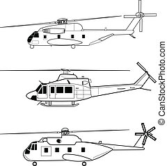 Helicopters - Vector pack with three high detailed...