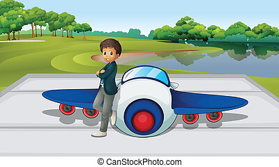 Pilot and plane - Illustration of a pilot with his plane