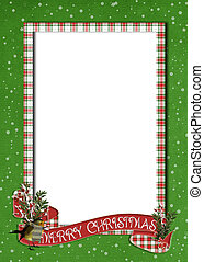 Merry Christmas banner on frame - Holiday banner on plaid...