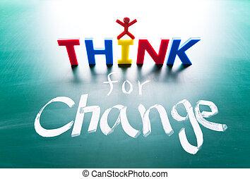 i, pensar, Mudança, conceito, palavras, quadro-negro