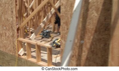 Pan of Home Being Constructed - Panning of new home being...