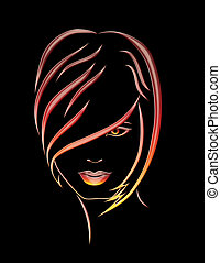 illustration of girl on black background