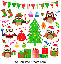 Vector set of Christmas party elements