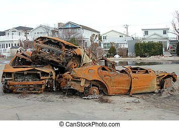 Hurricane Sandy destruction - BREEZY POINT, NY - NOVEMBER...