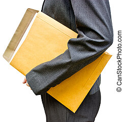 Business woman holding document with envelope