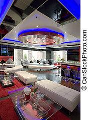 interior - Panoramic view of nice modern stylish hotel lobby...