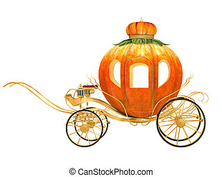 Cinderella fairy tale pumpkin carriage, isolated -...