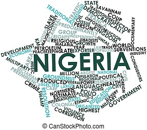 Nigeria - Abstract word cloud for Nigeria with related tags...