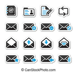 Email mailbox vector icons set - Mail web icons set as black...