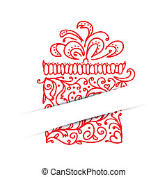 Postcard with gift box stylized for your design